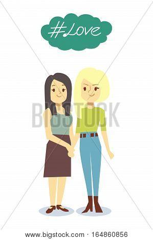 Happy gay LGBT women pair in love. Couple girl young illustration