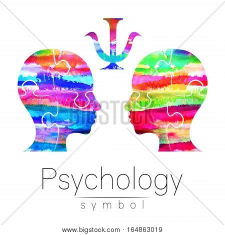 Modern Watercolor head logo of Psychology. Profile Human puzzle pieces. Creative style. Logotype in . Design concept. Brand company. Rainbow bright color isolated on white background. Symbol for web, print, card