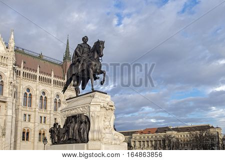 Statue Of Count Gyula Andrassy - Hungarian Prime Minister, Near  The Hungarian Parliament Building I