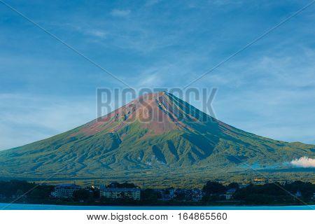 Mount Fuji Summer Dirt Cone No Snow Lake Kawaguchi
