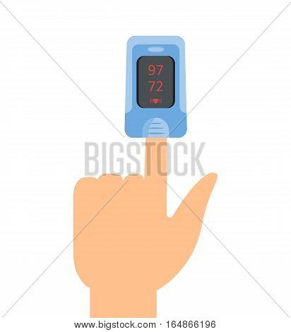 Pulse oximeter icon. Vector illustartion flat design