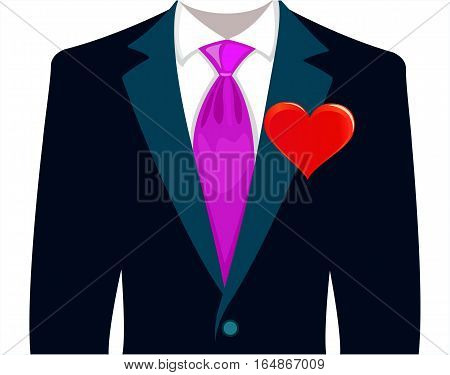 bridegroom in a wedding suit with red heart