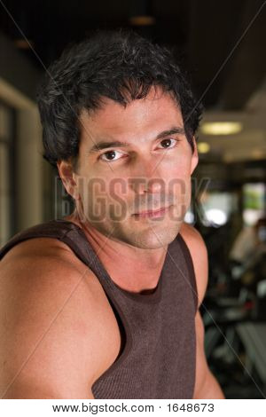 Portrait Of Man Exercising