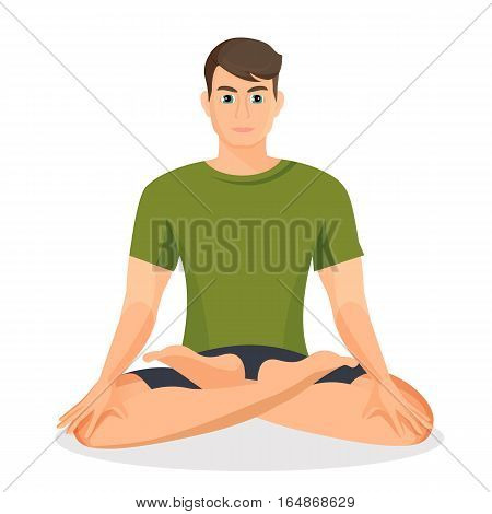 Boy in green T-shirt sitting and practicing lotus posture. Vector illustration of young male person taking exercises in oriental style on white. Boy keeping healthy lifestyle and training body