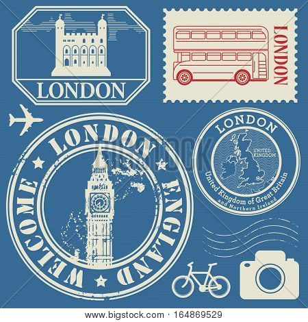Travel stamps or symbols set England and London theme vector illustration