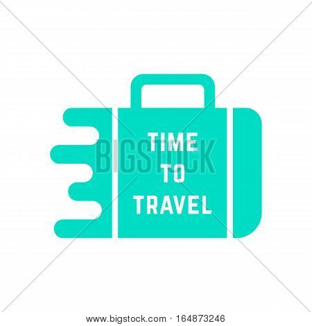 time to travel with green melted suitcase. concept of travelling, visual identity, handbag, recreation, booking. isolated on white background. flat style trend modern logo design vector illustration