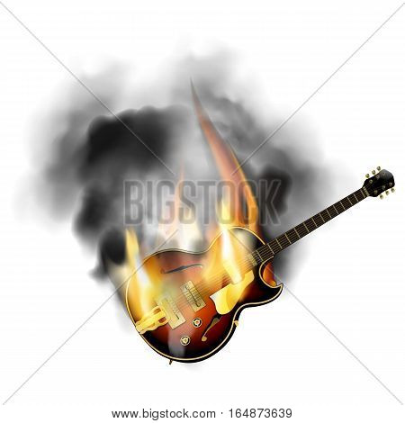 Jazz guitar with the stamp in the fire and smoke. Isolated object on a white background can be used with any text or image, smoke and fire transparency effect is saved.