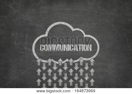 Communication text on black blackboard with cloud symbol