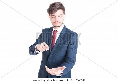 Business Man Standing Holding And Pointing Something