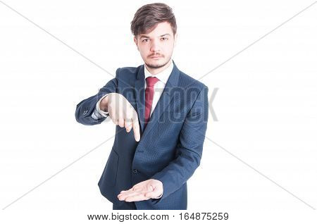 Marketing Manager Standing Holding And Pointing Something