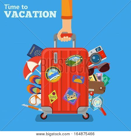 Vacation and Tourism Concept with Flat Icons Hand with Baggage Suitcase. isolated vector illustration