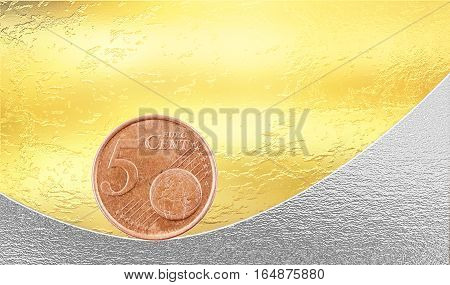 Financial and banking stability concept. Euro 5 cent coin balancing on gold and silver background.