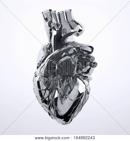 Metal Human Heart Isolated On White Background