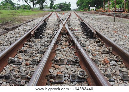 railway track on gravel for train transportation : Select focus with shallow depth of field