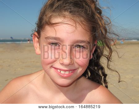 A Girl On Vacation At The Seaside