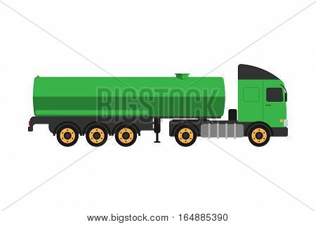Gas oil truck logistic petroleum transportation. Tanker metal shipping rail barrel flat vector illustration. Container business vehicle industrial delivery.