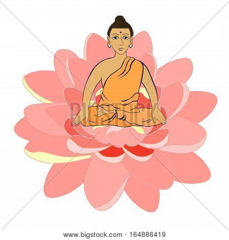 Buddha Sitting In The Lotus Indian Meditation Open Eyes .  Vector Illustration