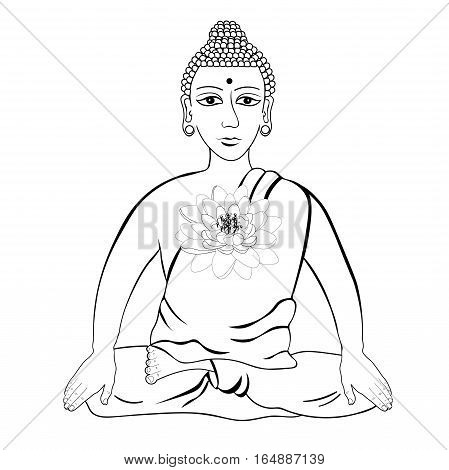 Buddha Sitting In The Lotus Indian Meditation Open Eyes Coloring  Vector Illustration