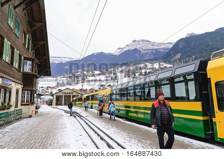Jungfrau,Switzerland-Jan 4,2017: Scenic railway to Klein's Scheidegg mountain pass, a famous ski resort area, to admire the passing scenic valleys and the Glacier Falls.
