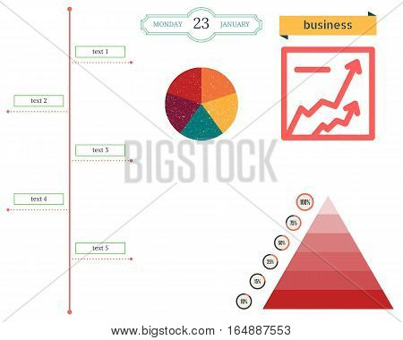 Business Pie Charts, Pyramid Charts Of Growth And The Scheme For The Accounting