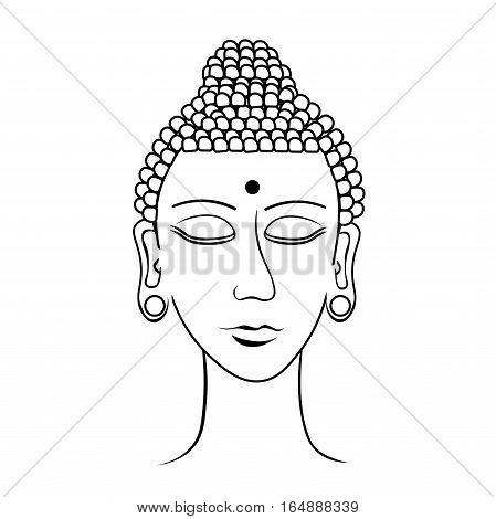 Indian Head Buddha Meditation Closed Eyes Coloring. Vector Illustration