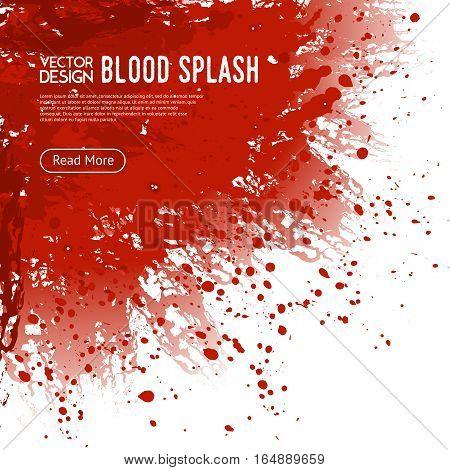 Big realistic blood splash corner on white background webpage design poster with read more button vector illustration