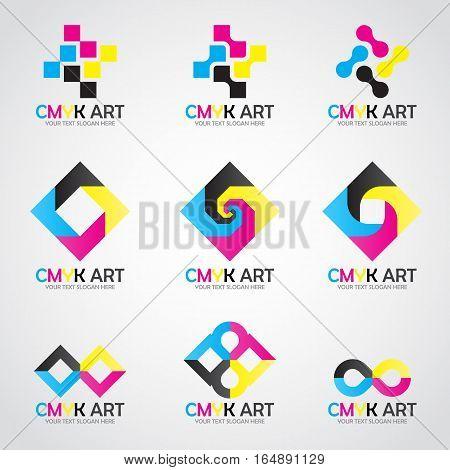 CMYK Art logo vector set design- cyan and magenta and yellow and key(black) color