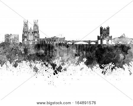 York skyline in artistic abstract black watercolor