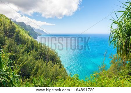 Beautiful ocean view in Kalalau trail, Kauai Island, Hawaii