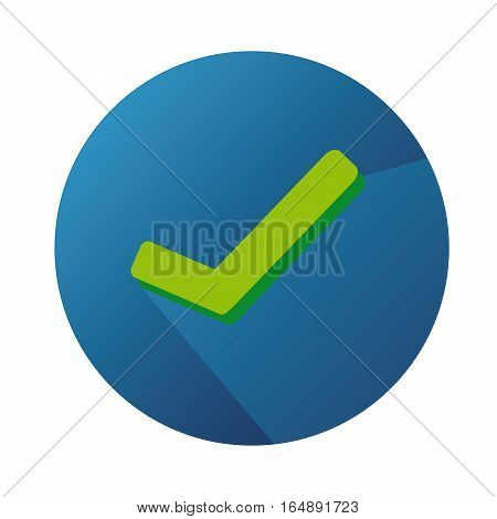 Vector Flat Icon With Check Green Mark And Blue Button With Long Shadow