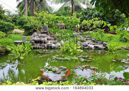 beautiful grounds with a pond with green water, a water Lily with round leaves lying on the water, the pots on the bottom of the pond, rockeries, a variety of exotic greenery and palm trees