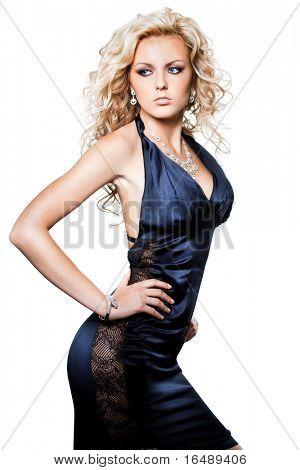 beautiful fashionable woman on white background
