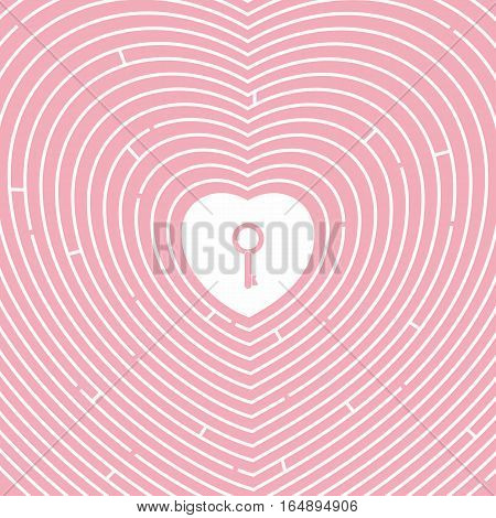 Maze a path to the heart. Key to heart. Pink background. Valentines day. Symbol of love