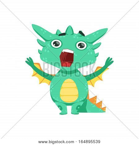 Little Anime Style Baby Dragon Shouting And Screaming Cartoon Character Emoji Illustration. Vector Childish Emoticon Drawing With Fantasy Dragon-like Cute Creature.