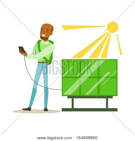Man Charging His Smartphone From Solar Panel Battery , Contributing Into Environment Preservation By Using Eco-Friendly Ways Illustration. Part Of People And Ecology Series Of Vector Cartoon Drawings.