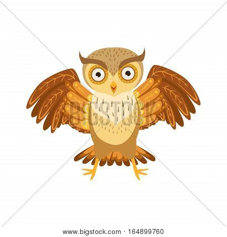 Angry Owl Cute Cartoon Character Emoji With Forest Bird Showing Human Emotions And Behavior. Vector Illustration With Woodland Animal And Its Life Situation.