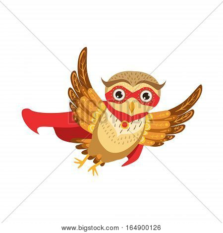 Owl Superhero Cute Cartoon Character Emoji With Forest Bird Showing Human Emotions And Behavior. Vector Illustration With Woodland Animal And Its Life Situation.
