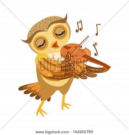 Owl Playing Violin Cute Cartoon Character Emoji With Forest Bird Showing Human Emotions And Behavior. Vector Illustration With Woodland Animal And Its Life Situation.