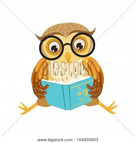 Owl Reading The Book Cute Cartoon Character Emoji With Forest Bird Showing Human Emotions And Behavior. Vector Illustration With Woodland Animal And Its Life Situation.