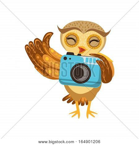 Tourist Owl With Camera Cute Cartoon Character Emoji With Forest Bird Showing Human Emotions And Behavior. Vector Illustration With Woodland Animal And Its Life Situation.