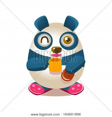 Cute Panda Activity Illustration With Humanized Cartoon Bear Character Drinking Tea And Eating Cookie In Slippers. Funny Animal In Fantastic Situation Vector Emoji Drawing.