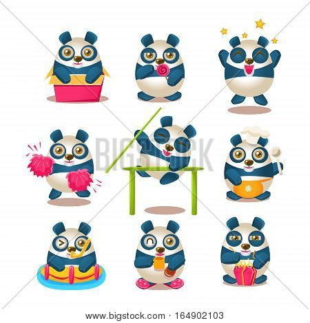 Cute Panda Emoji Collection With Humanized Cartoon Panda Character Doing Different Day-to-day Things. Colorful Isolated Vector Illustrations With Animal In Different Fantastic Situations Set.