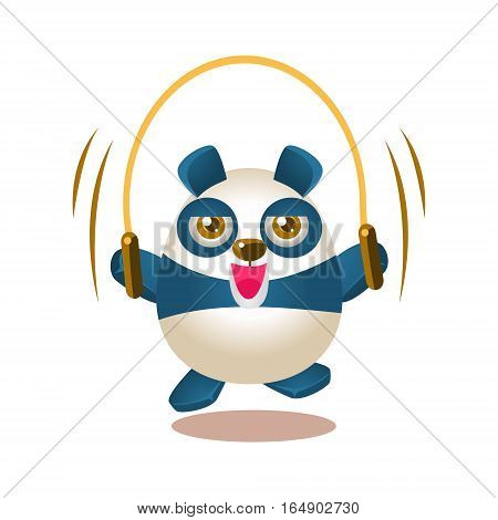 Cute Panda Activity Illustration With Humanized Cartoon Bear Character Jumping On Skipping Rope. Funny Animal In Fantastic Situation Vector Emoji Drawing.