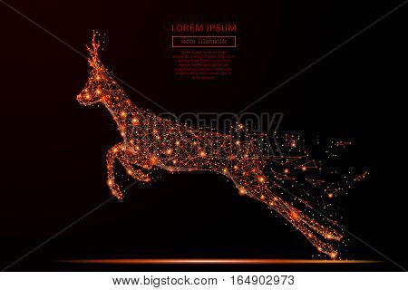 Abstract mash line and point run roe in flames style on dark background with an inscription. Starry sky or space, consisting of stars and the universe. Vector illustration