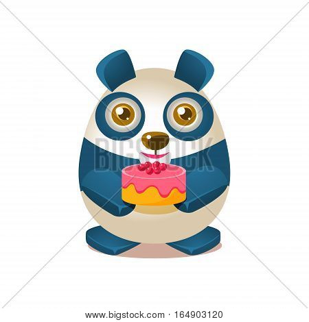 Cute Panda Activity Illustration With Humanized Cartoon Bear Character Holding A Cake. Funny Animal In Fantastic Situation Vector Emoji Drawing.