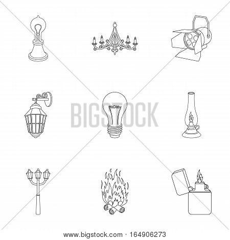 Light source set icons in outline style. Big collection of light source vector symbol stock