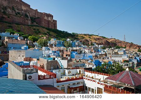 View of Jodhpur the Blue City and Mehrangarh Fort Rajasthan India