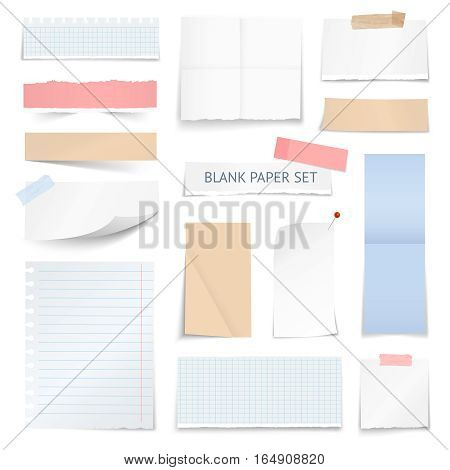 Blank school notebook page strips graph paper notes with shadow curled edge effect realistic samples collection vector illustration