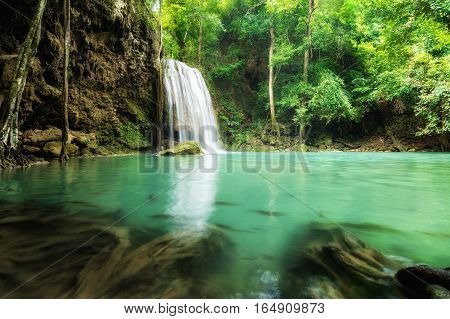 Erawan Waterfall is a beautiful waterfall in spring forest in Kanchanaburi province Thailand.