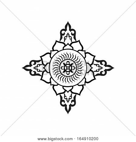 Buddhist mandala on white background. An isolated figure.